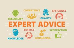 EXPERT ADVICE Concept with icons Stock Photography
