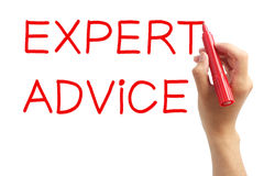 Expert Advice. Hand writing Expert Advice with red marker on transparent wipe board Stock Photos