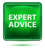 Expert Advice Neon Light Green Square Button stock illustration