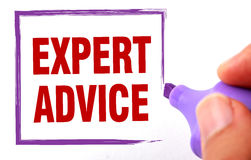 Expert advice. Text is signed by marker on white paper Stock Photography