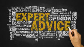 Expert advice word cloud. With related tags Royalty Free Stock Photo
