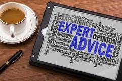 Expert advice word cloud. With related tags Royalty Free Stock Image