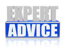 Expert advise in blue white banner - letters and block Royalty Free Stock Photo