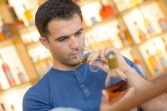 Expert amateur tasting great vintage sweet wine Royalty Free Stock Photo