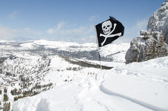 Expert area for skiing in mountains. Top or the ski resort with warning sign Royalty Free Stock Photo