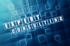 Expert consulting in blue glass cubes Royalty Free Stock Photos