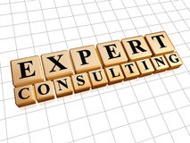 Expert consulting in golden cubes Royalty Free Stock Photos