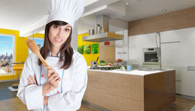 Expert cook in beautiful kitchen Stock Images