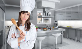 Expert cook in great kitchen Stock Photography