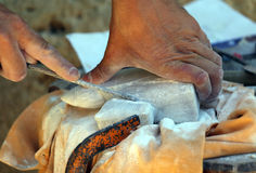 expert craftsman and stone sculpting royalty free stock photography