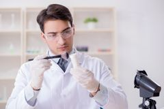 The expert criminologist working in the lab for evidence. Expert criminologist working in the lab for evidence royalty free stock photos