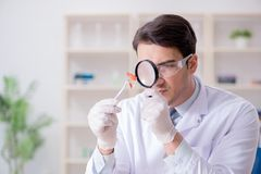 The expert criminologist working in the lab for evidence. Expert criminologist working in the lab for evidence royalty free stock images