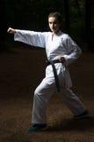 Expert en matière de karaté de ceinture noire avec la position de combat photographie stock