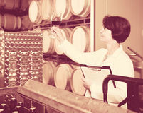 Expert estimates quality of red wine on winery Stock Image