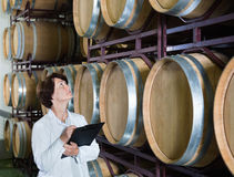 Expert examines equipment at winery Royalty Free Stock Photos