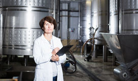Expert examines equipment at winery Stock Photos