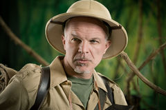 Expert explorer in the jungle Stock Images