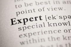 Expert. Fake Dictionary, Dictionary definition of the word Expert. including key descriptive words royalty free stock image