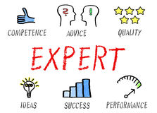 Expert graphics. Graphic and text depicting elements of an expert including competence, advice, quality, ideas, success and performance on white background stock illustration