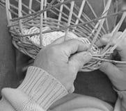 Expert hands of the elderly craftsman creates a wicker basket Stock Photo