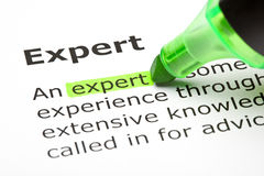 'Expert' highlighted in green. The word 'Expert' highlighted in green Stock Images