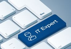 IT Expert Key - Keyboard with 3D Concept. Illustration Stock Images
