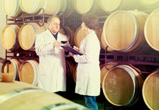 Expert and maker estimate wine Royalty Free Stock Photography