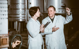 Expert and maker estimate wine Stock Photos