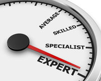Expert. Meter average, skilled, specialist and expert Concept 3d rendering stock photo