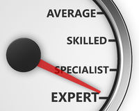 Expert. Meter average, skilled, specialist and expert Concept 3d rendering royalty free stock images