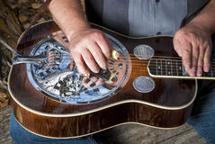 Expert musicition plays steel guitar Stock Image