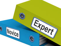 Expert Novice Folders Mean Learner And Advanced Stock Photo