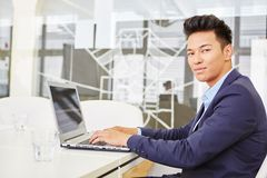 Expert programmer with laptop computer Royalty Free Stock Images