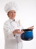 Expert senior cook Royalty Free Stock Image