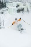 Expert skier skiing powder snow in Stowe, Vermont, Royalty Free Stock Images
