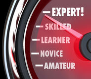 Expert Speedometer Measuring Skill Level from Novice to Skilled. A speedometer or gauge tracking your progress in learning a skill, going from the level of Stock Photography