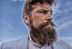 Expert tips for growing and maintaining moustache. Hipster handsome bearded attractive guy close up. Man bearded hipster stock images