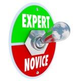 Expert Vs kunskap för expertis för veteran för strömbrytare för novisordvipp Arkivbild
