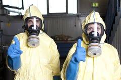 Experten geben ein all-freies nach biohazard Warnung Stockbilder