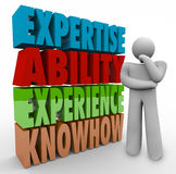 Expertise Ability Experience Knowhow Thinker Job Criteria qualifications. Expertise Ability Experience and Knowhow words and thinker wondering about job or royalty free illustration