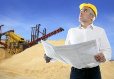 Expertise architect senior engineer plan quarry Royalty Free Stock Images
