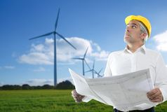 Expertise architect senior engineer plan windmill Royalty Free Stock Images
