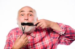 Expertise. barbershop concept. shaving accessories. cut and brush hair. mature bearded man isolated on white. unshaven. Old man has moustache and beard. shaving stock photography