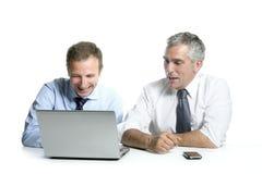 Expertise businessman team working computer. Expertise businessman team working laptop computer white desk stock photos
