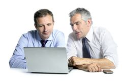 Expertise businessman team working computer. Expertise businessman team working laptop computer white desk royalty free stock photos