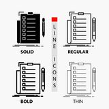 Expertise, checklist, check, list, document Icon in Thin, Regular, Bold Line and Glyph Style. Vector illustration. Vector EPS10 Abstract Template background royalty free illustration