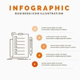 Expertise, checklist, check, list, document Infographics Template for Website and Presentation. Line Gray icon with Orange. Infographic style vector stock illustration