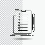 Expertise, checklist, check, list, document Line Icon on Transparent Background. Black Icon Vector Illustration. Vector EPS10 Abstract Template background royalty free illustration