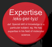 Expertise Definition Button Showing Skills Royalty Free Stock Photo