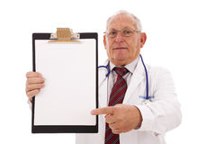 Expertise Doctor. Older man isolated on white royalty free stock images